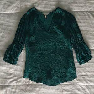Rebecca Taylor Viridian Green Hammered Silk Top